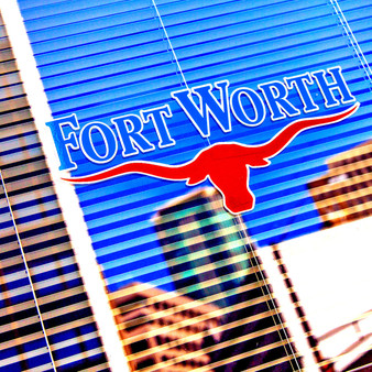 Featured is the infamous Fort Worth logo, seen in several places throughout the city or just outside of it.