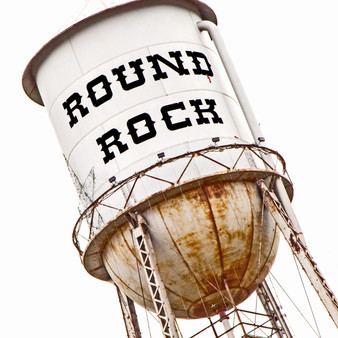 This water tower can be found in Round Rock, Texas.