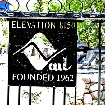 This public city sign is located in the picturesque Vail Village area of Vail, Colorado, a small town at the base of Vail Mountain, home of the massive Vail Ski Resort.  This sign showcases Vail's elevation and date.