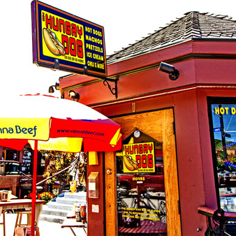 The Hungry Dog is a high quality hot dog and sausage stand in downtown Steamboat Springs, Colorado.  Hungry Dog features food for everyone offering gyros, veggie pitas, pretzels, corn dogs, nachos and more. It's always a good time at the Hungry Dog,