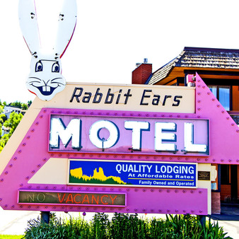 With views of the Yampa River and Howelsen Hill, Rabbit Ears Motel is many's choice for affordable and comfortable lounging. Featuring a bright, neon pink sign, this Steamboat Springs staple has been welcoming visitors since the 1950s.