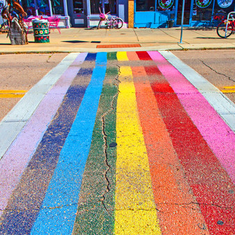 <p>Show your pride or love for colors with this unique sidewalk print taken in Kansas!<p><p>Click &lsquo;Choose a Product&rsquo; above to get this image hand printed on a ceramic 4x4 custom coaster, cutting board, magnet, ceramic trivet, ornament, dog tag or canvas.</p>