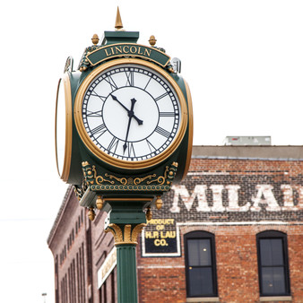 This town square clock can be found in the Historic Haymarket District in Lincoln, NE.