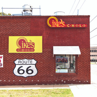 Open since 1908 and right off Route 66, Ike's is famous for its old-fashioned chili recipe that has remained the same over the last few decades. What celebrities such as Will Rogers and Peggy Cass may call home, Ike's will surely have you going back for more and this print proves it.