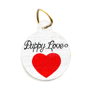 """This pet tag features the """"Puppy Love"""" mural from Austin, Texas."""