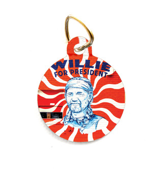"""This pet tag features the """"Willie for President"""" mural from Austin, Texas."""