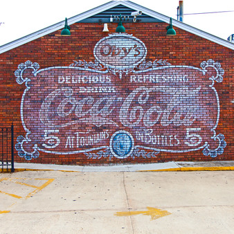 Outside of Oby's, a popular restaurant in Starkville, MS, is this popular Coca-Cola wall mural.