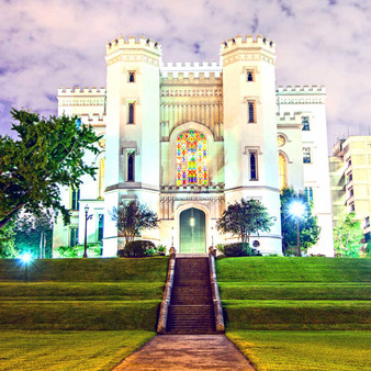 Louisiana's Old State Capitol, a Gothic architectural treasure, stands high on a bluff overlooking the Mississippi River. It now serves as a museum that educates the public on Louisianas rich history and the democratic process through exhibits, programming and the arts.