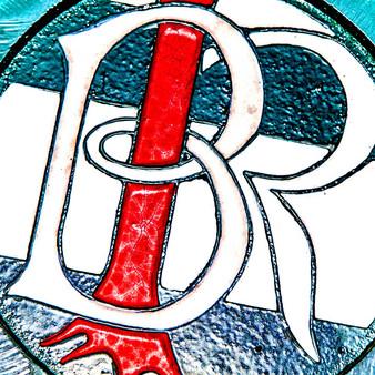 Red stick BR glass art.