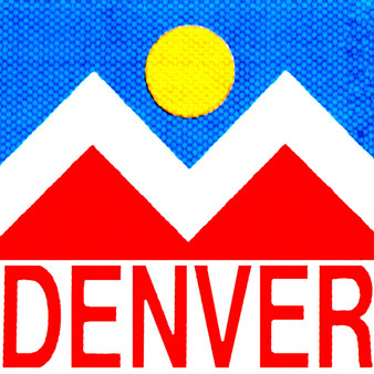 This sign displays the flag of the City and County of Denver, Colorado. The flag was designed by a high school student and was adopted in 1926. A zigzag white stripe horizontally separates a red field below from a blue field above, in which is centered a yellow circle, together forming a stylized depiction of the Sun in a blue sky above snow-capped mountains. The color yellow symbolizes gold in the state's hills, and red the colored earth to which the word Colorado refers. The circle's centered position symbolizes Denver's central location within the state. The white zigzag symbolizes Colorado's Native American heritage.