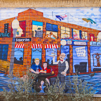 This charming and colorful street mural is located in the trendy Bishop Arts District of the Oak Cliff neighborhood in Dallas Texas. The Bishop Arts District  is an eclectic community filled with shops, restaurants, and residences; a great place to spend a day shopping, sight-seeing and dining!