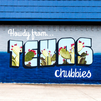 As Texas is known for its beautiful Spring and Summer flowers, this deep blue mural pays tribute to that.