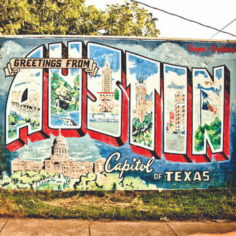 Tthe Greetings From Austin mural welcomes everyone to Austin and features some of the most unique things about the city.