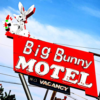 This iconic vintage sign at the Big (formerly Bugs) Bunny Motel was built in 1952 and is a landmark of the Colfax strip in Lakewood, Colorado.