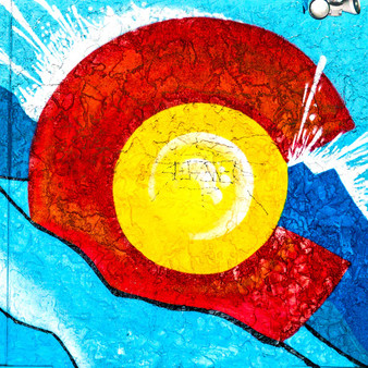 Embodying each precious quality of the state is this Colorado mural. With a large bright red 'C', around a rich yellow 'O', images of the Colorado mountains as well as its clear blue water is seen throughout.