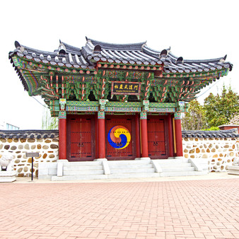 Shaped like a Korean Buddhist Pagoda, the H.U. Lee International Gate is a tribute to the rise of Taekwondo - one of the leading forms of martial arts taught in the USA.