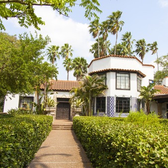 "This Spanish-revival estate amid sprawling tropical gardens features over 250 species of birds. As the home began being built in the 1930's, this historical marker's meaning is all in the name. ""Quinta"" meaning country house, villa, or estate, and ""Mazatlan"" meaning ""Land of the Deer""."