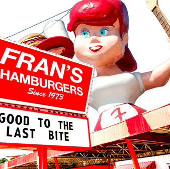 Fran's originally began as a Dan's Hamburgers in 1973, but when Dan and Frances Junk divorced in 1990, the local chain split off into separate Fran's and Dan's operations. Sadly, Fran's Hamburgers closed in 2013.