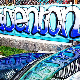 Showing off Denton, Texas pride, this mural was done in true Denton colors with graffiti letters.