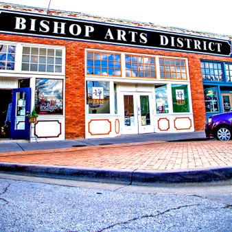 The Bishop Arts District is located in North Oak Cliff, just five minutes from downtown Dallas. It is home to over 60 boutiques, restaurants, bars, coffee shops, theaters and art galleries. It is known for its diverse nightlife, chic independent fashion stores and colorful street art and has been deemed as one of Dallas' most unique neighborhoods.