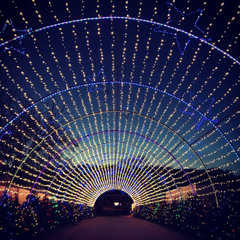This is the final light exhibit as you exit the Trail of Lights in Austin, Texas.