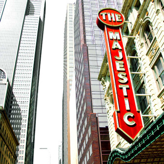 """The Majestic Theatre is a performing arts venue in the City Center District, downtown Dallas. Being the last remnant of """"Theater Row"""", the city's historic entertainment center is now a contributing property in the Harwood Street Historic District."""