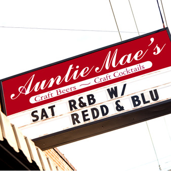 <p>Auntie Mae's is a little basement bar has been cranking out great craft cocktails, wonderful beers, and entertaining nightlife for over 45 years. <p><p>Click &lsquo;Choose a Product&rsquo; above to get this image hand printed on a ceramic 4x4 custom coaster, cutting board, magnet, ceramic trivet, ornament, dog tag or canvas.</p>