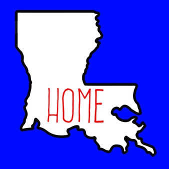 Louisiana state outline with HOME written inside of it.