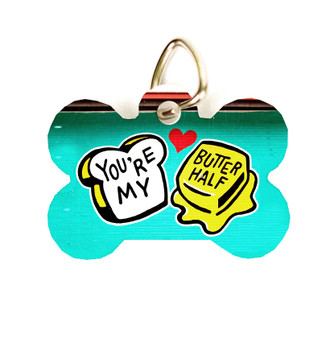 "This pet tag features the ""You're My Butter Half"" mural from Austin, Texas. Choose between round or dog bone shaped."