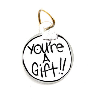 """This pet tag features the """"You're A Gift"""" Mural. Choose between round or dog bone shaped."""
