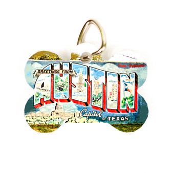 """This pet tag features the historic """"Greetings From Austin"""" mural in Austin, Texas."""