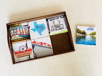 This coaster tray holds six of our custom coasters and can be used as a display or to serve food/drinks!