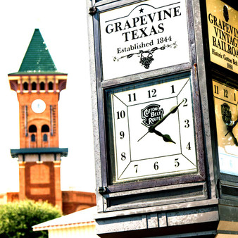 """Grapevine Glockenspiel Clock Tower. Reflecting Western lore and bits of Europe, this clock tower features two characters recognized as the """"would-be train robbers"""" in what The Grapevine Convention and Visitors Bureau Headquarters claims to be the perfect heist."""