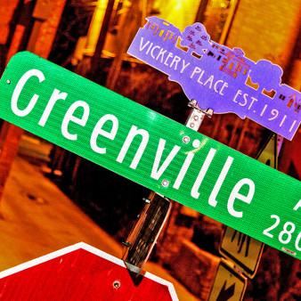 Showing off its historic archive, this Greenville sign welcomes visitors and locals to what is now a trendy and youthful area. With dining options for all, one-of-a-kind shops, as well as festive bars and clubs, Greenville has been around for over a century and remains a local hangout for all.
