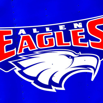 Recognizing that Allen, Texas takes sports seriously, this Allen Eagles sign represents the mascot of Allen High School – the only high school in the Allen Independent School District.