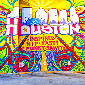 This mural was created by Gonzo247, artist and founder of Houston's Aerosol Warfare Studio, on a commission from the Greater Houston Convention and Visitors Bureau (GHCVB) with the assistance of the Houston Arts Alliance. Houston Is Inspired dominates the south side of Treebeard's Restaurant, situated across the street from Market Square Park.