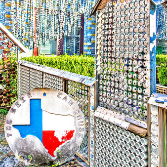 The Beer Can House is a folk art house in Rice Military, Houston, Texas, covered with beer cans, bottles, and other beer paraphernalia. Houstonian John Milkovisch worked through the late 1960s to transform his Houston home at 222 Malone Street into the Beer Can House.