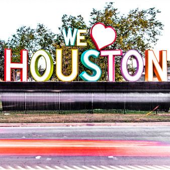 """Showing off Houston's pride, """"We Heart Houston"""" was just created in 2013. As it rapidly became a Houston landmark, this sign is also recognized with the name """"We Love Houston""""."""