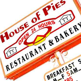 """House of Pies Restaurant and Bakery. Operating since 1967, House of Pies prides itself on making its desserts and sweet treats the """"old-fashioned"""" way – without preservatives. Though known for its pies, this classic bakery is also a diner that offers homey American staples and is open 24/7."""