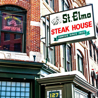 <p>St. Elmo Steak House was founded in 1902 by Joe Stahr, the restaurant was named after the patron saint of sailors, St. Elmo.  It is the oldest Indianapolis steakhouse and has earned a national reputation for its excellent steaks, seafood, chops, and professional service.<p><p>Click &lsquo;Choose a Product&rsquo; above to get this image handprinted on a ceramic 4x4 custom coaster, cutting board, magnet, ceramic trivet, ornament, dog tag or canvas.<p>