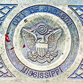 This is a artistic take on an everyday item - a manhole cover in Jackson, MS