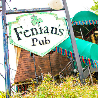Fenians Pub is an Irish pub grub, brews & live music offered in a hopping spot amid dark woods, stained glass & patio.