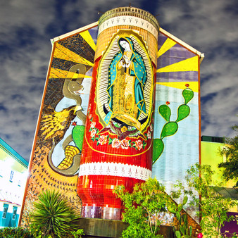 Lady Virgen de Guadalupe is one of the biggest Catholic icons throughout the world as she is known to forgive all. Since there is such a large Catholic community in San Antonio, the locals pay tribute to Lady Guadalupe with this mural.