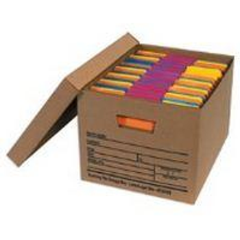"Premium File Storage Boxes|15 x 12 x 10"" Kraft Economy File Storage Boxes with Lids (12/case)