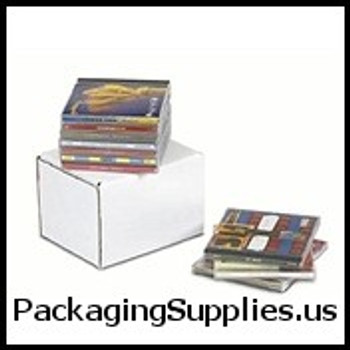 "CD DVD Mailers 5 5 8 x 4 3 16 x 5"" Outside Tuck CD Jewel Case Corrugated Mailer - Holds 10 CD's BSMEZ545"