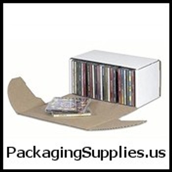 "CD DVD Mailers 10 5 16 x 5 x 5 9 16"" Outside Tuck CD Jewel Case Corrugated Mailer - Holds 25 CD's BSMEZ1055"