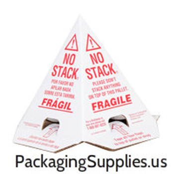 Pallet Cones No Stack Pallet Cones 8 x 8 x 10 White/Red Tri-Lingual : English, Spanish & French (100/case)|PALLET CONES