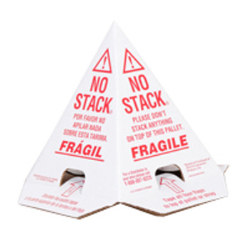 Pallet Cones No Stack Pallet Cones 8 x 8 x 10 White Red Tri-Lingual : English, Spanish & French (100 case) PALLET CONES