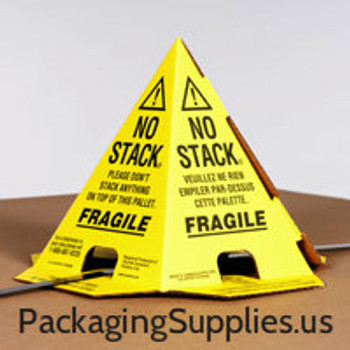 Pallet Cones No Stack Pallet Cones 8 x 8 x 10 Yellow/Black Tri-Lingual : English, Spanish & French (100/case)|PALLET CONES YB