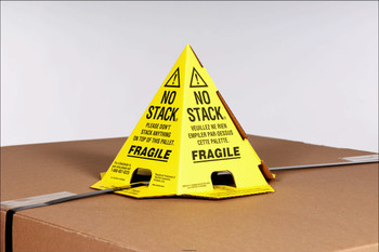 Pallet Cones No Stack Pallet Cones 8 x 8 x 10 Yellow Black Tri-Lingual : English, Spanish & French (100 case) PALLET CONES YB